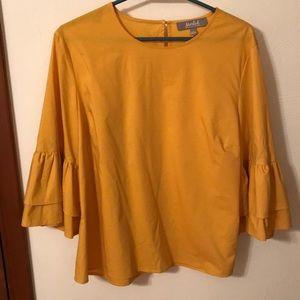 Golden yellow bell sleeve top